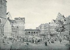 Historische Darstellung vom Hopfenmarkt in der Hansestadt Hamburg; lks. das Eingangs-Portal von der Nikolaikirche.