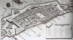 Historische Ansicht der Festung Küstrin  / Kostrzyn - Polen - mit Altstadt und lks. teilweise Ansicht