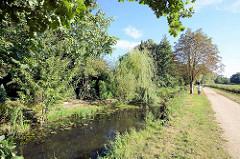Wanderweg / Fahrradweg entlang der Bille in Hamburg Lohbrügge. Bäume / Weiden wachsen am Ufer des Hamburger Flusses.