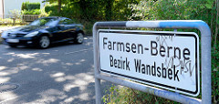 Ortsschild Farmsen-Berne, Bezirk Wandsbek.