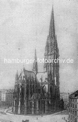 Alte Darstellung von der Hauptkirche St. Nikolai; die Nikolaikirche hat ihren Ursprung um 1200 - ursprünglich eine Kapelle wurde sie ab Ende des 14. Jh. zu einer Hallenkirche erweitert. Beim Hamburger Brand 1842 wurde die gesamte Kirche zerstört u