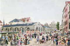 Historische Darstellung vom Hopfenmarkt an der Nikolaikirche in der Hamburger Neustadt. Markthalle mit aufgehängten Rinderhälften - Verkaufsstände mit Gemüse.