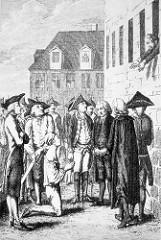 Hinrichtung Hermann von Katte - als Fluchthelfer des Kronprinzen Friedrich vom König Friedrich Wilhelm zum Tode verurteilt. Friedrich sollte der Hinrichtung von seinem Fenster aus zusehen - Quellen berichten von homoerotischen Verbindungen zwischen