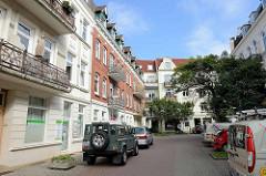 Gründerzeitarchitektur in Hamburg Bergedorf - mehrstöckige Wohnhäuser.