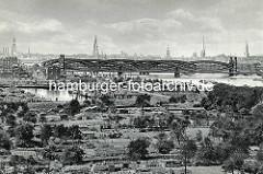 Historisches Flugbild von der Norderelbe an der Veddel - Kleingärten reichen bis ans Elbufer - lks. das Hafenbecken vom Peutehafen, dahinter die Elbrücken über die Norderelbe und das Panorama Hamburgs mit den Türmen der Hansestadt.