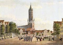 Alte Ansicht vom Pferdemarkt in der Altstadt Hamburgs - im Hintergrund die Hamburger Hauptkirche St. Jakobi.