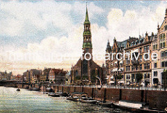 Historisches Bild vom Hamburger Zollkanal am Zippelhaus / Katharinenkirchhof.