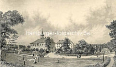 Historische Ansicht vom Harburger Schloß - Passanten gehen durch die Schlossanlage; eine Wäscherin hängt Wäsche zum Trocknen auf.