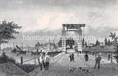 Blick über die Harburger Schlossbrücke / Klappbrücke zum Harburger Hafen - Hunde spielen auf der Straße.