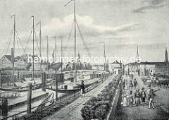 Alte Darstellung / Hamburgensie vom Deichtor - Kirchtürme der Hansestadt Hamburg im Hintergrund. Die Brücke über den Oberhafen führt  zum Ericus, dahinter Häuser bei der Poggenmühle und Teerhof.