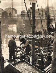 Altes Bild von Krabbenfischern, die Krabben auf einem Krabbenfänger im Hafen von Cuxhaven Krabben kochen.