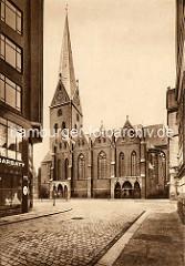 Historisches Motiv von der St. Petri Kirche in Hamburg - Blick vom Johannneum (re.).