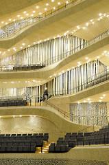 Wandverkleidung im Großen Saal vom Hamburger Konzerthaus Elbphilharmonie.