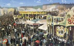 Historische Luftansicht vom Hamburger Jahrmarkt / Dom auf dem Heiligengeistfeld  - dicht gedrängt gehen die Besucher zwischen den Marktständen und Karussells / Fahrgeschäften.
