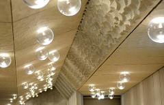 Akustische Wandverkleidung / Weisse Haut im Großen Saal vom Konzerthaus Elphilharmonie in Hamburg.