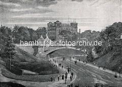 Altes Bild der Deutschen Seewarte auf dem Stintfang. Fussgänger  auf der Helgoländer Allee - Kersten Miles Brücke.