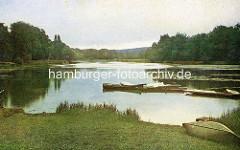 Historisches coloriertes Bild von der aufgestauten Bille in Reinbek - Kanus und Ruderboote.