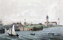 Historische Darstellung von Cuxhaven an der Elbmündung; Ruderboote und Segelschiffe.
