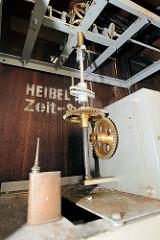 Mechanik zur Pegelanzeige im Pegelturm  an den Landungsbrücken von Hamburg St. Pauli / Heibel Zeit-System.