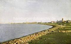 Farbaufnahme von der Uferbefestigung und Deichanlage in Cuxhaven / Elbmündung.