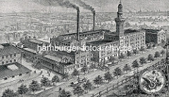 Historische Darstellung der ehem. Bernstein Electricitätswerke - danach die Asbest- und Gummiwerke Alfred Calmont in der Dorotheenstraße in Hamburg Winterhude.