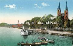 Alte Darstellung von der Uferpromenade am Ruppiner See in Neuruppin - Ruderboote und Ausflugdampfer; Kirchtürme der Klosterkirche St. Trinitatis.