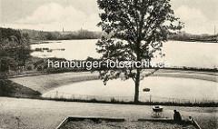 Historsche Aufnahme vom Harburger Stadtpark - Blick auf den Aussenmühlenteich.