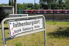 Stadtteilschild Rothenburgsort - Bezirk Hamburg Mitte.