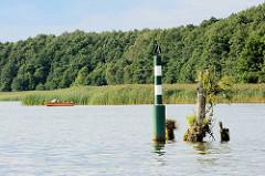 Fahrrinnenbegrenzung / Kennzeichen des Fahrwassers in Seegewässern - linke Seite der Fahrrinne; Kremmer See - Kremmer Rhin..