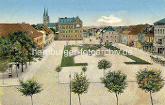 Historische Ansicht vom Schulplatz in Neuruppin.