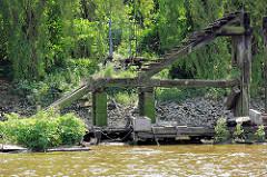 Alte Wassertreppe aus Holz - mit Grünpflanzen überwucherter Holzponton in der Billwerder Bucht, Hamburg Rothenburgsort.