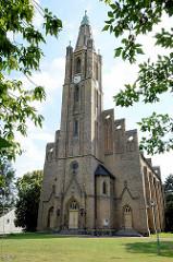 Stadtkirche von Fehrbellin, fertiggestellt 1867 - neugotischer Saalbau, Entwurf Friedrich August Stüler.