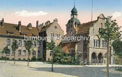 Historische Ansicht der Friedrich Franz Kaserne in Neuruppin. Blick auf das Wachgebäude.
