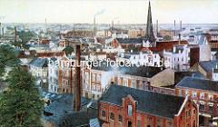Historische Luftdarstellung von Harburg a. d. Elbe bei Hamburg - Schornsteine und Kirchturm; im Hintergrund die Elbbrücken über die Süderelbe.