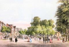 Historische Darstellung vom Wandsbeker Marktplatz - Pferdedroschken und Husaren zu Pferd - Kirchturm der Christuskirche.