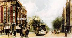 Historische Ansicht von der Wandsbeker Chaussee - Pferdefuhrwerk und Straßenbahn.