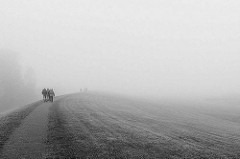 Spaziergang im Herbst auf dem Deich in Otterndorf - Spaziergänger verschwinden im Nebel.