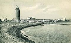 Historisches Cuxhaven -  Deichbefestigung und Leuchtturm / Restaurant am Hafen.
