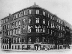 Hamburg Rothenburgsort in der Vorkriegszeit: Runde Eckbebauung im Vierländer Damm / Billhorner Deich; mehrstöckiges Wohnhaus - Gastwirtschaft Club.