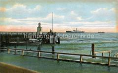 Altes Bild, colorierte Ansicht von der Hafeneinfahrt / Alten Liebe in Cuxhaven - Schiffe auf der Elbe.