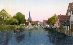 Alte colorierte Ansicht von der Medem und Otterndorf - Kirchturm der St. Severi Kirche.