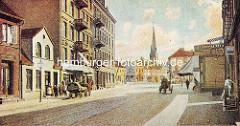 Historische Ansicht aus Wandsbek bei Hamburg - Blick aus der Lübecker Straße zur Christuskirche.