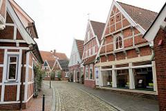 Historische Fachwerkhäuser in der Straße Himmelreich in Otterndorf.