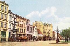 Wandsbek historisch - altes Bild von der Lübecker Straße; Geschäfte / Einzelhandel, Pferdefuhrwerke.
