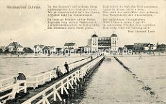 Historisches Motiv von der Badebrücke und Promenade vom Nordseebad Duhnen - Gedicht von Paul Richard Luck.