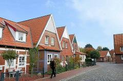 Fachwerkhäuser mit Vorbau - Wöhngebäude in Otterndorf.