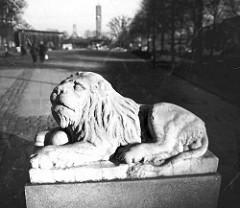 Skulptur Löwe am Marktplatz von Hamburg Wandsbek - die Figur hatte  früher ihren Standort am Eingang der Auffahrt zum Wandbeker Schloss in Höhe der Straße Schloßgarten.