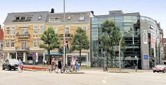Blick von der Bergedorfer Straße zum Mohnhof - historische und moderne Architektur, Wohnhaus / Geschäftshaus.