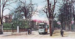 Altes Bild von der Schloßstraße in Wandsbek - Passanten un Straßenbahn.