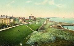 Colorierte historische Ansicht von der Deichpromenade in Cuxhaven - lks. im Hintergrund die Kugelbake.